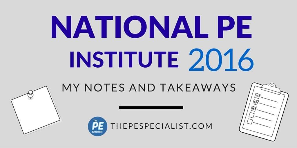 PE Institute 2016